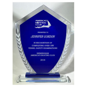 Shield Shaped Glass Award for America's Boating Club by C. P. Dean