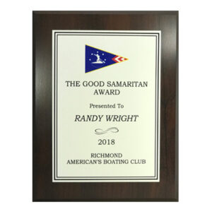 America's Boating Club Plaque with White Plate and Squadron Burgee